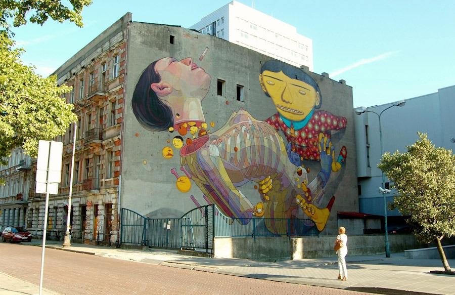 Os Gemeos Aryz Lodz Poland Unurth Street Art